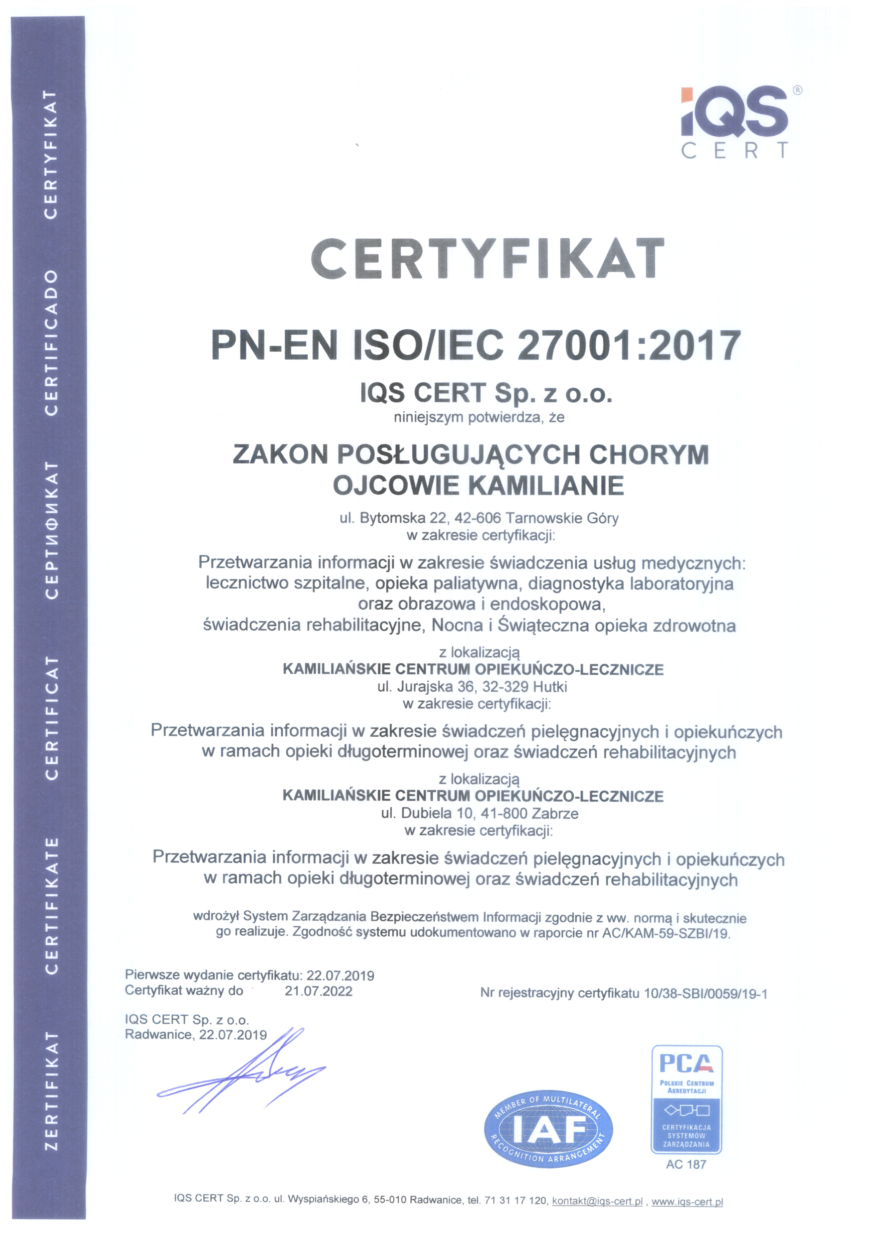 Certyfikat ISO 27001:2017