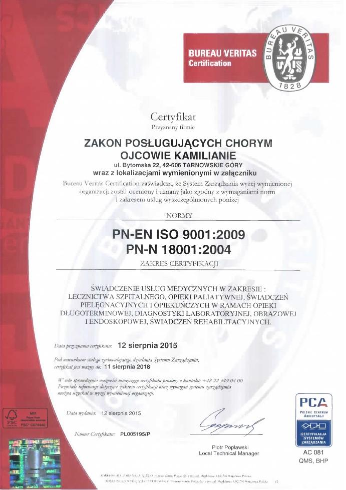 Certyfikat ISO 9001:2009, 18001:2004