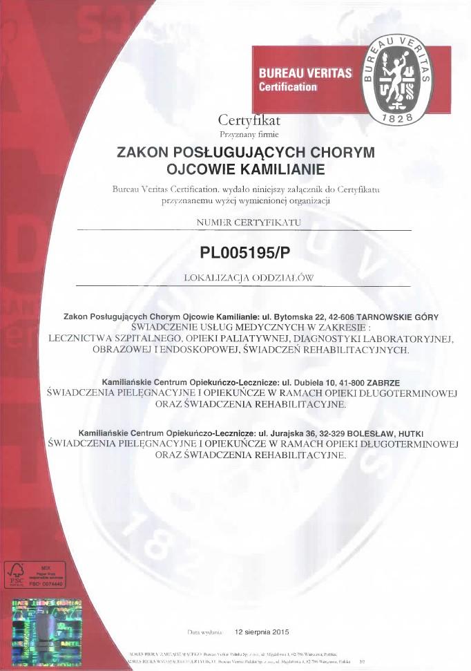 Certyfikat ISO 9001:2009, 18001:2004 - załącznik